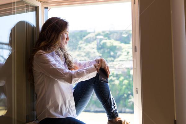 Iyi mutlu genç kadın güneş balkon ev Stok fotoğraf © hsfelix