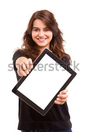 製品 プレゼンテーション 幸せ 若い女性 ストックフォト © hsfelix