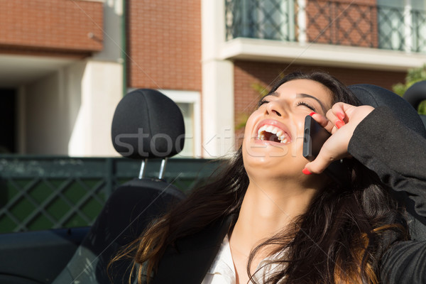 деловой женщины Спортивный автомобиль молодые успешный телефон марка Сток-фото © hsfelix