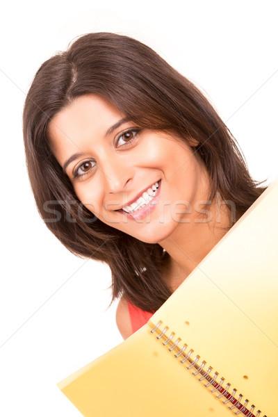 Studente giovani donna posa bianco sorriso Foto d'archivio © hsfelix
