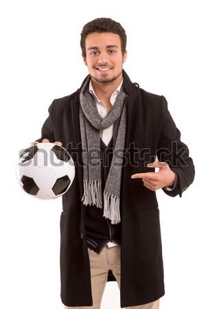 Entrenador estudio Foto guapo jóvenes fútbol Foto stock © hsfelix