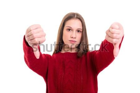 Genç kadın başparmak aşağı Stok fotoğraf © hsfelix
