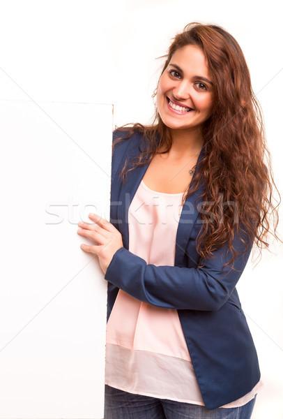 Producto presentación hermosa jóvenes mujer de negocios Foto stock © hsfelix