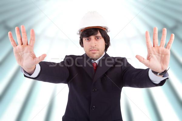 ビジネスマン 一時停止の標識 孤立した 手 にログイン ストックフォト © hsfelix