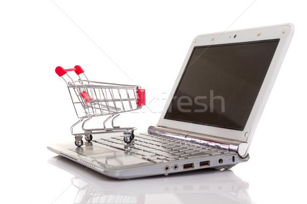 Carrinho de compras computador portátil negócio tecnologia fundo Foto stock © hsfelix