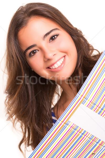 ストックフォト: 学生 · 小さな · 女性 · ポーズ · 白 · 笑顔