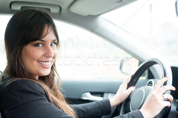 新しい車 ビジネス女性 運転 新しい スポーツカー 車 ストックフォト © hsfelix