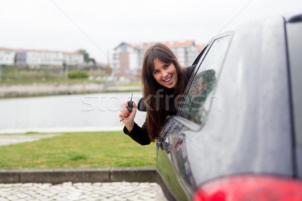 ストックフォト: 新しい車 · ビジネス女性 · 運転 · 新しい · スポーツカー · ビジネス
