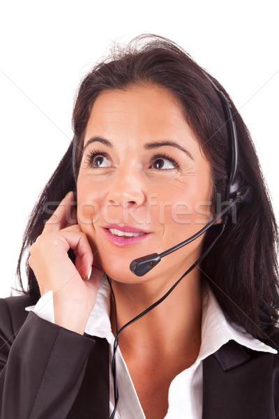 Telefoon exploitant vriendelijk jonge mooie werk Stockfoto © hsfelix