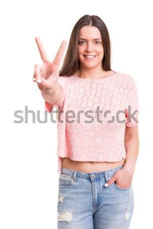 összes ok gyönyörű fiatal nő izolált fehér Stock fotó © hsfelix
