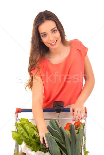 женщину красивой торговых супермаркета деньги Сток-фото © hsfelix
