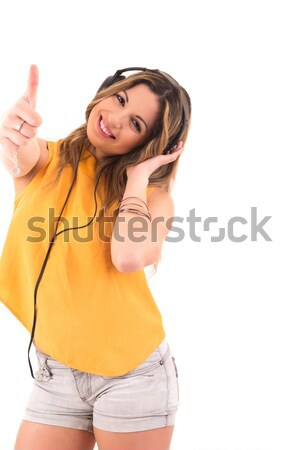 Feliz mujer escuchar música música cara Foto stock © hsfelix