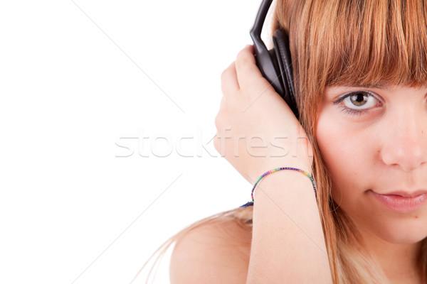Stock fotó: Fiatal · nő · zenét · hallgat · zene · arc · szépség · jókedv