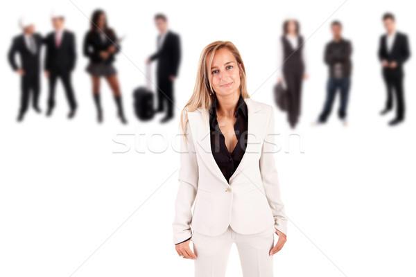 Zakenvrouw poseren groep mensen Maakt een reservekopie glimlach model Stockfoto © hsfelix