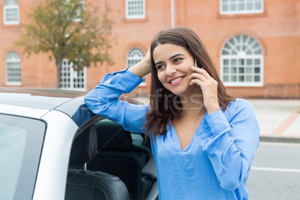 Stock fotó: üzletasszony · telefon · új · sportautó · nő · mosoly