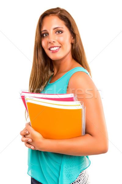 Stock fotó: Diák · fiatal · nő · pózol · fehér · mosoly