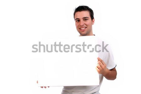 business man with an empty white card Stock photo © hsfelix
