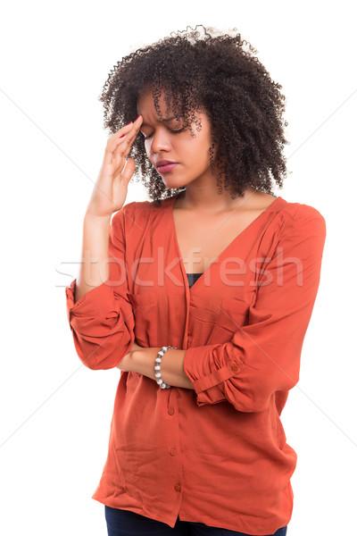 Não mulher jovem dor de cabeça isolado branco negócio Foto stock © hsfelix