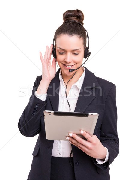 Telefon kezelő barátságos mosolyog izolált fehér Stock fotó © hsfelix