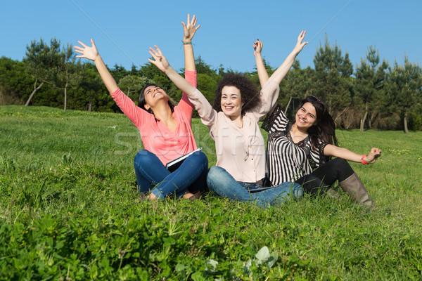 Szczęśliwy kobiet grupy studentów relaks parku Zdjęcia stock © hsfelix