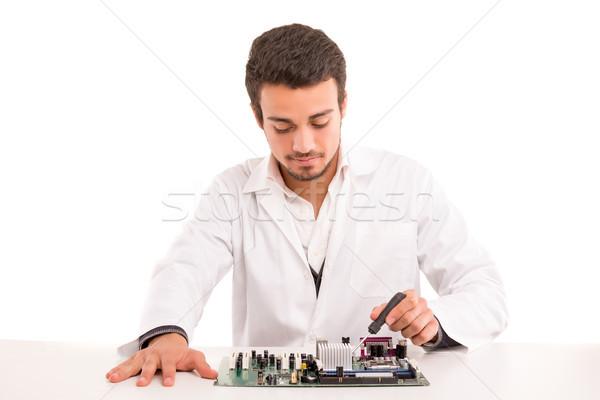 Técnico trabajo ordenador ingeniero de trabajo placa Foto stock © hsfelix