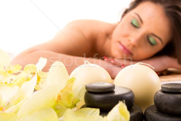 женщину Spa молодые красивая женщина расслабляющая оздоровительный Сток-фото © hsfelix