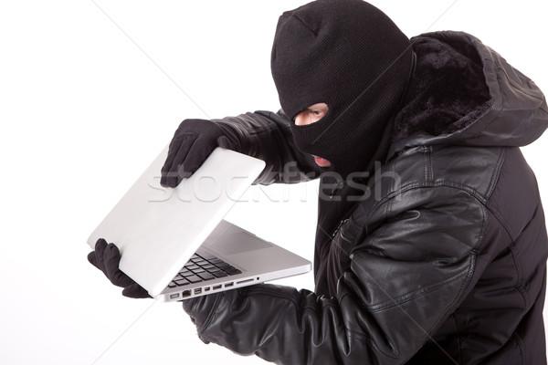 Сток-фото: компьютер · хакер · изолированный · белый · интернет · ноутбука