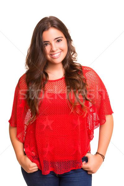 öğrenci genç kadın poz beyaz gülümseme Stok fotoğraf © hsfelix