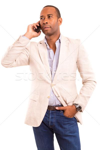 Afrika iş adamı genç telefon iş mutlu Stok fotoğraf © hsfelix