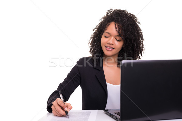 African business woman at work Stock photo © hsfelix