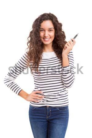 Wow wygląd młodych piękna kobieta produktu Zdjęcia stock © hsfelix