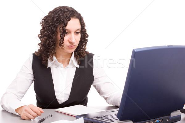 дружественный телефон оператор рабочих ноутбука изолированный Сток-фото © hsfelix