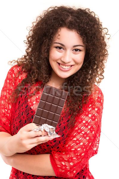 Stok fotoğraf: çikolata · güzel · genç · kadın · yeme · çikolata · kadın