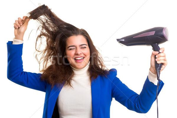 Stockfoto: Vrouw · zorg · haren · jonge · vrouw · geïsoleerd
