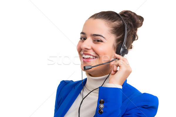 Telefon operatör dostça gülen yalıtılmış beyaz Stok fotoğraf © hsfelix