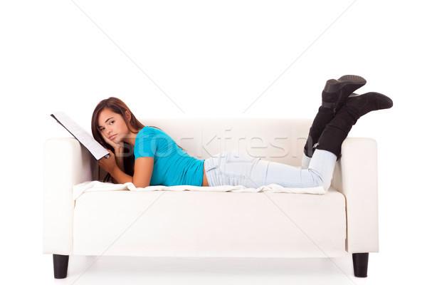 Kadın eğitim genç mutlu kanepe kız Stok fotoğraf © hsfelix