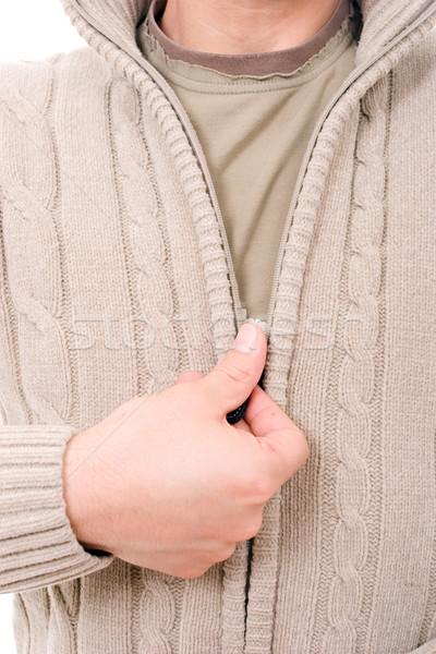 Uomo medicazione cappotto isolato bianco mano Foto d'archivio © hsfelix