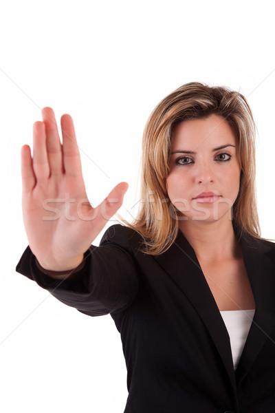 ビジネス女性 一時停止の標識 孤立した 白 女性 ストックフォト © hsfelix