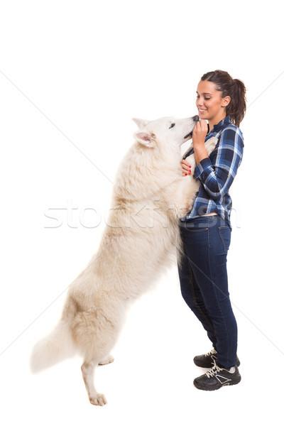 женщину собака играет студию улыбка Сток-фото © hsfelix