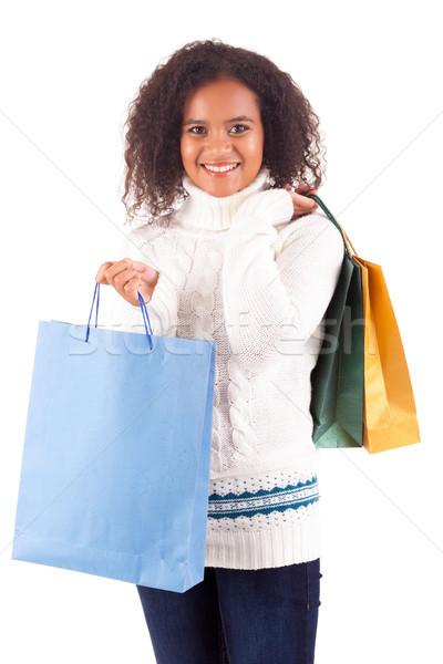 女性 小さな 美人 ショッピングバッグ 幸せ 冬 ストックフォト © hsfelix