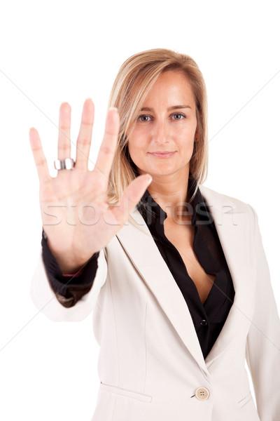 Iş kadını dur işareti yalıtılmış beyaz kadın Stok fotoğraf © hsfelix