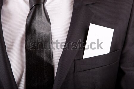 Business card in suit's pocket Stock photo © hsfelix
