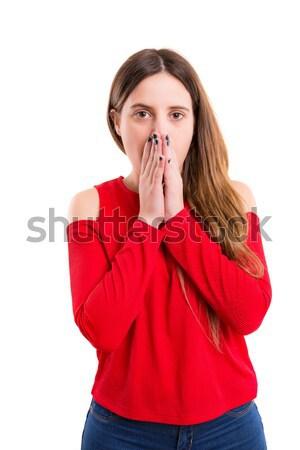 Stockfoto: Stilte · mooie · jonge · vrouw · vragen · geïsoleerd · vrouw