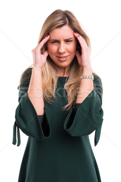 Nem nem fiatal nő erős fejfájás izolált Stock fotó © hsfelix