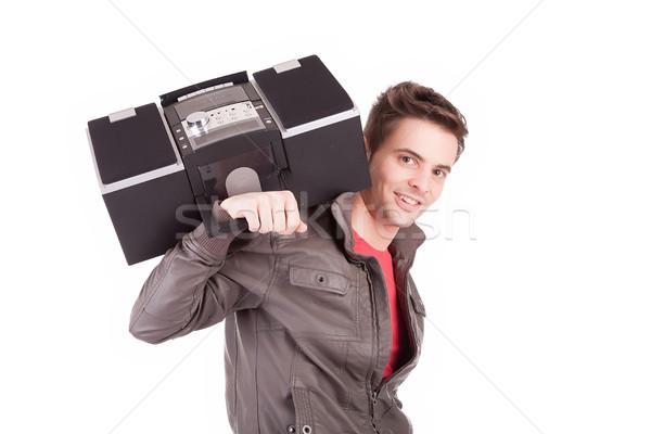 若い男 音楽を聴く 顔 男 ホーム ヘッドホン ストックフォト © hsfelix