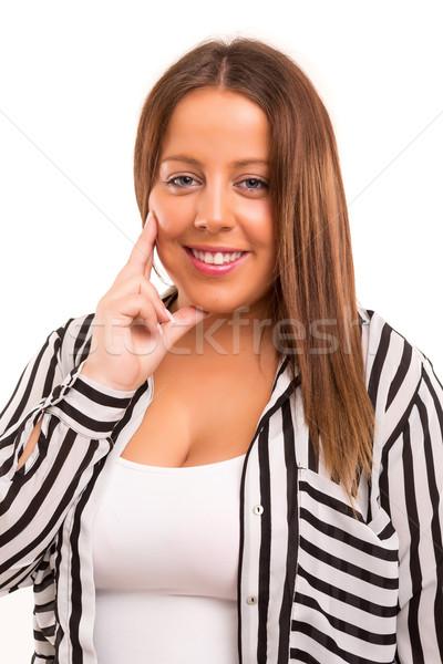 Donna felice donna d'affari isolato bianco Foto d'archivio © hsfelix