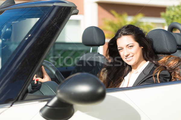 üzletasszony sportautó fiatal sikeres fényűző autó Stock fotó © hsfelix