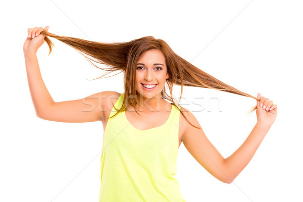 Adolescente felice indossare bretelle posa isolato Foto d'archivio © hsfelix