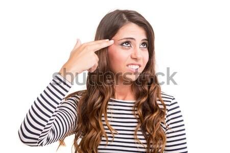 şaşırmış genç kadın yalıtılmış beyaz kadın gözler Stok fotoğraf © hsfelix