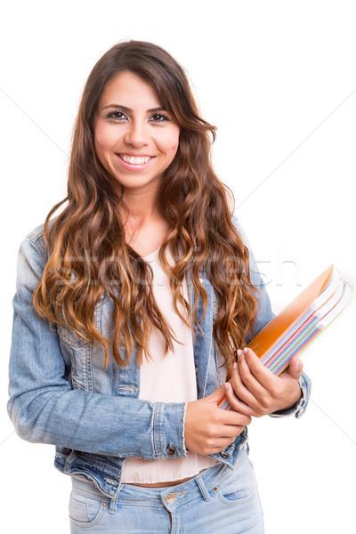 счастливым студент молодые позируют белый женщину Сток-фото © hsfelix